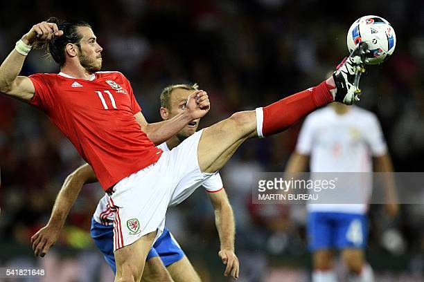 Wales' forward Gareth Bale kicks the ball during the Euro 2016 group B football match between Russia and Wales at the Stadium Municipal in Toulouse...