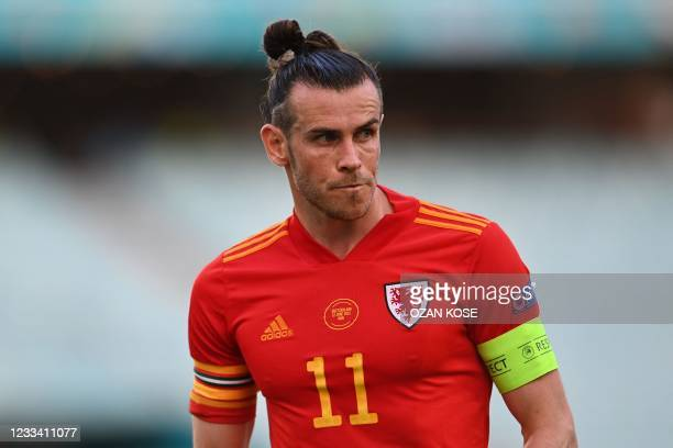 Wales' forward Gareth Bale looks on during the UEFA EURO 2020 Group A football match between Wales and Switzerland at the Olympic Stadium in Baku on...