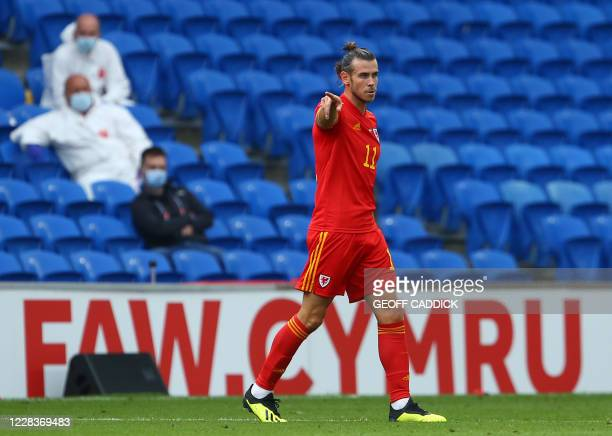 Wales' forward Gareth Bale points during the UEFA Nations League football match between Wales and Bulgaria at the The Cardiff City Stadium in Cardiff...