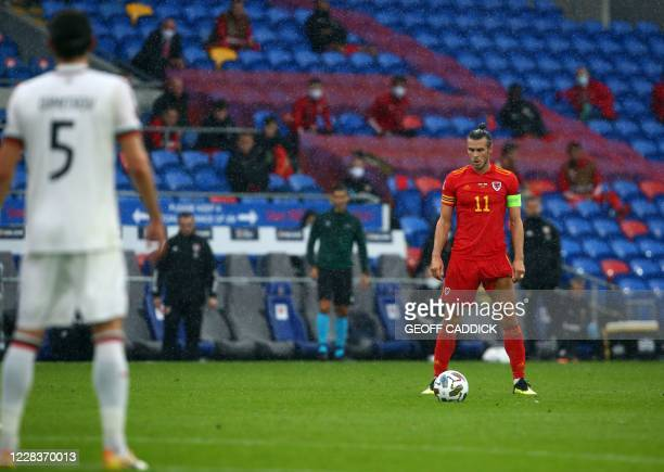 Wales' forward Gareth Bale prepares to take a free kick during the UEFA Nations League football match between Wales and Bulgaria at the The Cardiff...