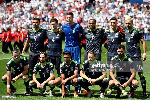 Wales' forward Gareth Bale Wales' midfielder Joe Allen Wales' defender Neil Taylor Wales' defender Chris Gunter and Wales' midfielder Joe Ledley and...