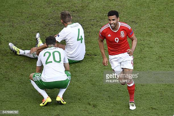 Wales' forward Hal Robson-Kanu celebrates after an own goal by Northern Ireland's defender Gareth McAuley during the Euro 2016 round of sixteen...