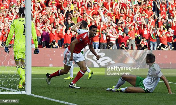 Wales' forward Hal Robson-Kanu celebrates following a own goal by Northern Ireland's defender Gareth McAuley during the Euro 2016 round of sixteen...