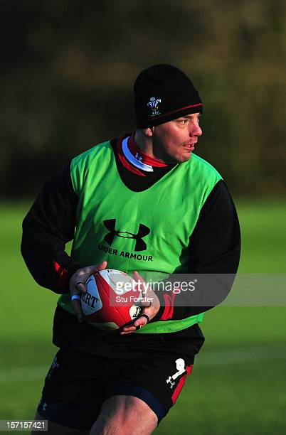 Wales forward Matthew Rees in action during Wales training at the Vale on November 29 2012 in Cardiff Wales