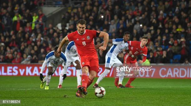 Wales forward Sam Vokes misses a first half penalty during the International Friendly match between Wales and Panama at Cardiff City Stadium on...