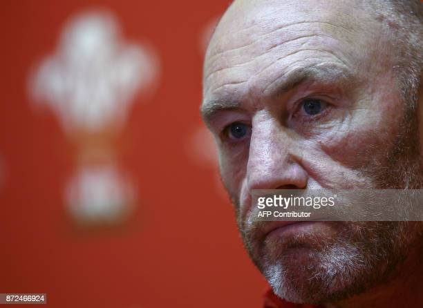 Wales' forwards coach Robin McBryde speaks during a press conference at the Principality Stadium in Cardiff on November 10 ahead of Wales' autumn...