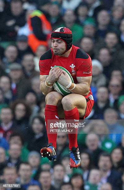 Wales full back Leigh Halfpenny catches the ball during the Six Nations international rugby union match between Ireland and Wales at the Aviva...