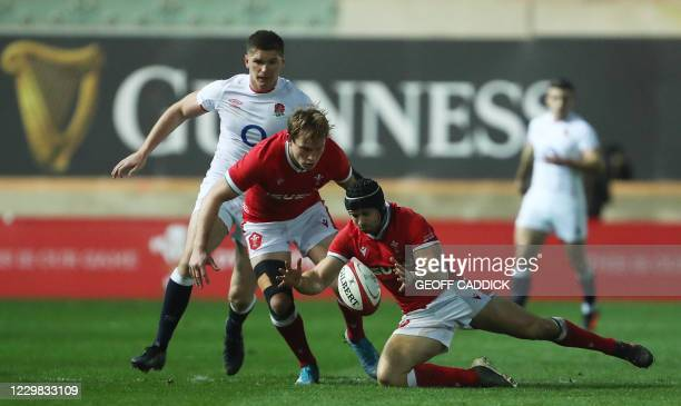 Wales' full-back Leigh Halfpenny gathers the ball during the Autumn Nations Cup international rugby union match between Wales and England at at the...