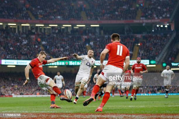 Wales' fullback Liam Williams kicks the ball upfield during the Six Nations international rugby union match between Wales and England at the...