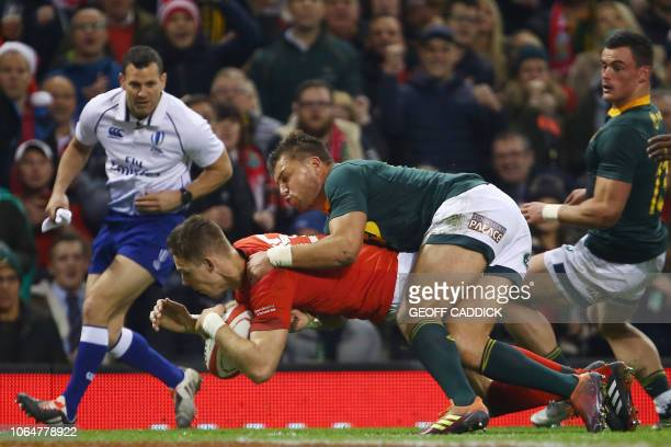 Wales' fullback Liam Williams scores a try during the autumn international rugby union test match between Wales and South Africa at the Principality...