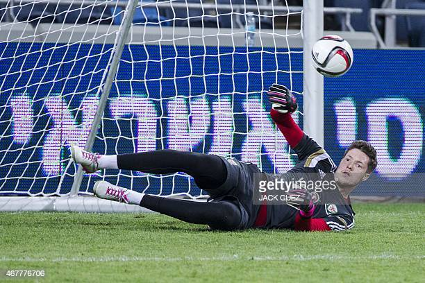 Wales' gaolkeeper takes part in a training session at the Sammy Ofer Stadium in the Israeli coastal city of Haifa, on March 27 on the eve of the Euro...