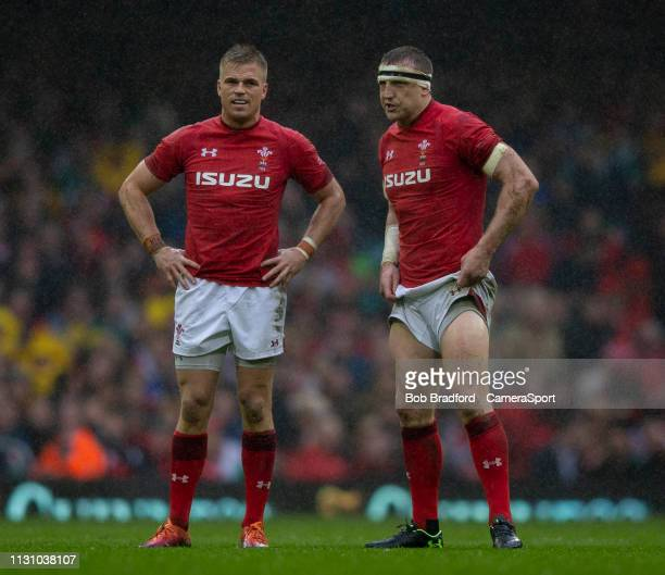 Wales' Gareth Anscombe and Wales' Hadleigh Parkes during the Guinness Six Nations match between Wales and Ireland at Principality Stadium on March 16...
