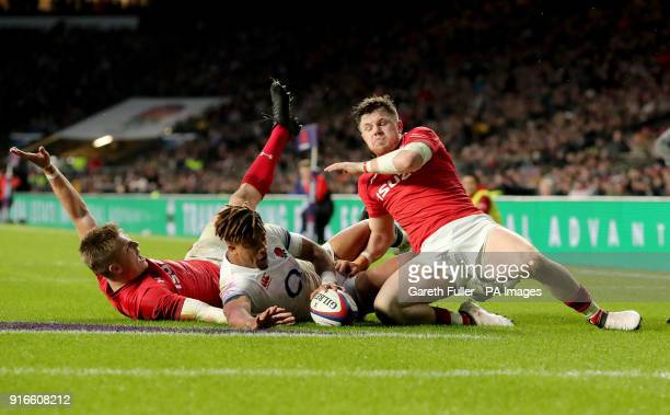 Wales' Gareth Anscombe attempts a try but it is ruled out after a referral to the TMO during the NatWest 6 Nations match at Twickenham Stadium London