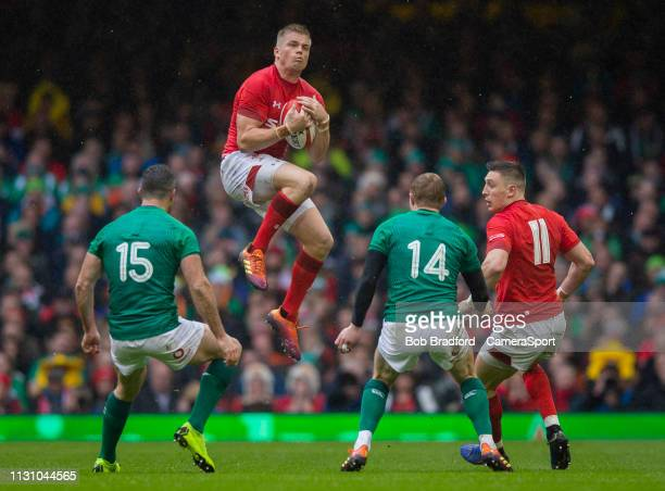 Wales' Gareth Anscombe claims a high ball during the Guinness Six Nations match between Wales and Ireland at Principality Stadium on March 16 2019 in...