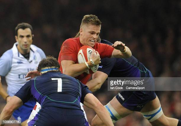 Wales' Gareth Anscombe looks for a way through during the International Friendly match between Wales and Scotland on November 3 2018 in Cardiff...
