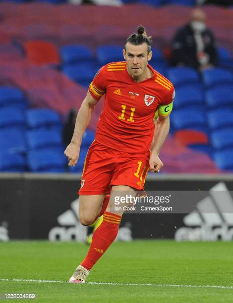 Wales Gareth Bale during the FIFA World Cup 2022 Qatar qualifying match between Wales and Czech Republic at Cardiff City Stadium on March 30, 2021 in...