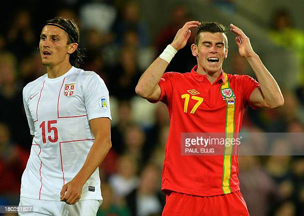Wales' Gareth Bale reacts next to Serbia's Ljubomir Fejsa during the World Cup 2014 European Zone group A qualifying football match between Wales and...