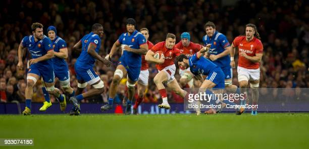 Wales' Gareth Davies in action during todays match during the NatWest Six Nations Championship match between Wales and France at Principality Stadium...