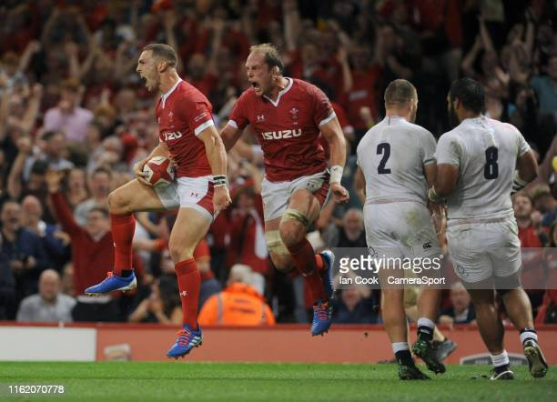 Wales George North celebrates scoring his sides first try with teammate Alun Wyn Jones during the Under Armour Summer Series match between Wales and...