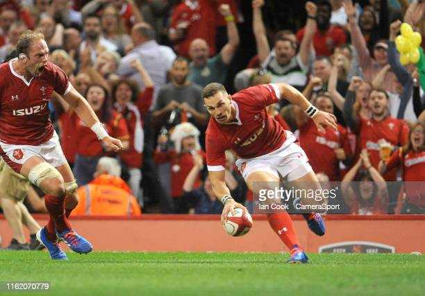 Wales George North scores his sides first try during the Under Armour Summer Series match between Wales and England at Principality Stadium on August...