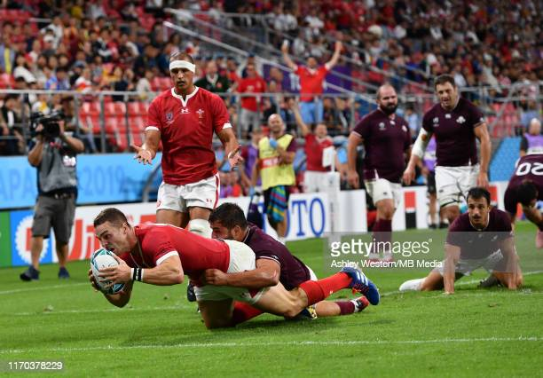 Wales' George North scores his sides sixth try during the Rugby World Cup 2019 Group D game between Wales and Georgia at City of Toyota Stadium on...