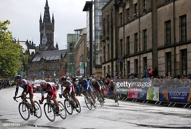 Wales' Geraint Thomas takes a corner during the men's cycling road race during the 2014 Commonwealth Games in Glasgow Scotland on August 3 2014 AFP...