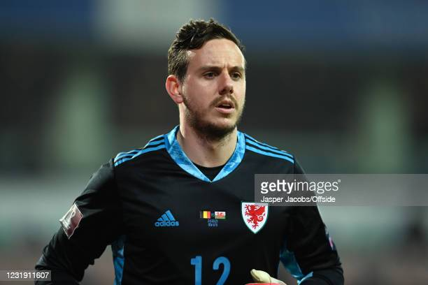 Wales goalkeeper Danny Ward during the FIFA World Cup 2022 Qatar qualifying match between Belgium and Wales on March 24, 2021 in Leuven, Belgium....