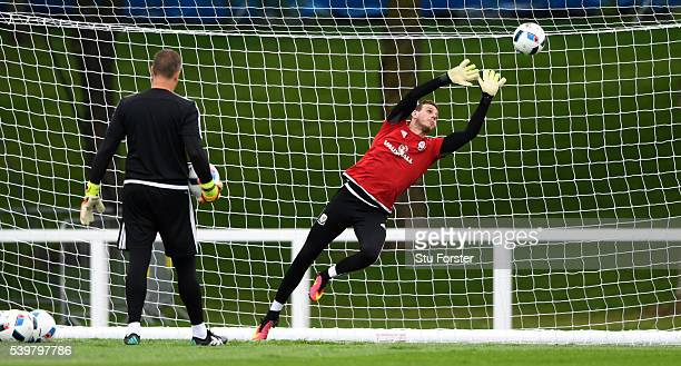 Wales goalkeeper Danny Ward in action during Wales training at their Euro 2016 base camp on June 13, 2016 in Dinard, France.