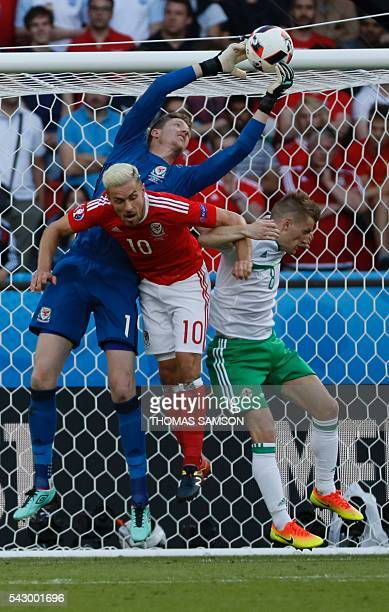 Wales' goalkeeper Wayne Hennessey catches the ball during the Euro 2016 round of sixteen football match Wales vs Northern Ireland, on June 25, 2016...