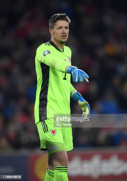 Wales goalkeeper Wayne Hennessey gestures during UEFA Euro 2020 qualifier between Wales and Hungary at Cardiff City Stadium on November 19, 2019 in...