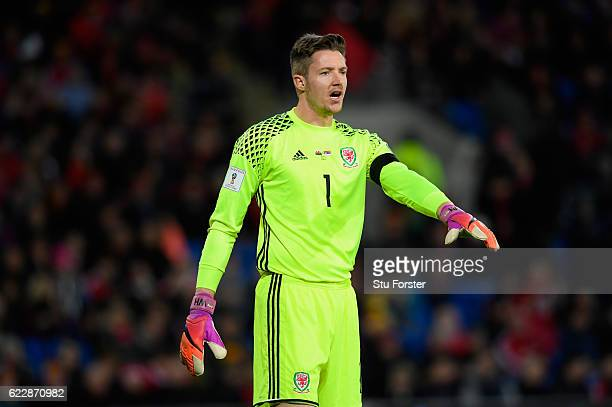 Wales goalkeeper Wayne Hennessey in action during the FIFA 2018 World Cup Qualifier between Wales and Serbia at Cardiff City Stadium on November 12...