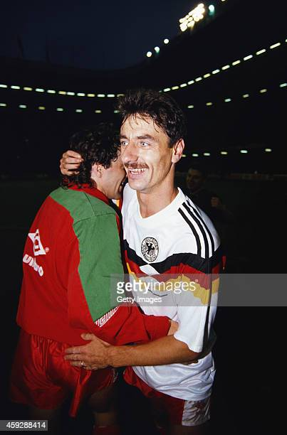 Wales goalscorer Ian Rush celebrates with Dean Saunders after Wales had beaten West Germany 10 in a 1992 UEFA European Championships Qualifier at...