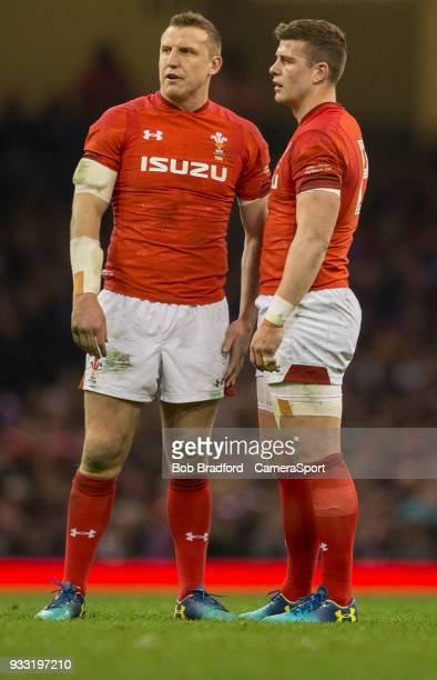 Wales' Hadleigh Parkes and Scott Williams during the NatWest Six Nations Championship match between Wales and France at Principality Stadium on March...
