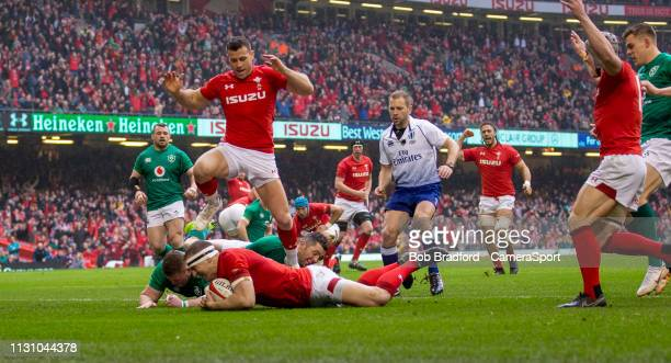 Wales' Hadleigh Parkes scores his sides first try during the Guinness Six Nations match between Wales and Ireland at Principality Stadium on March 16...