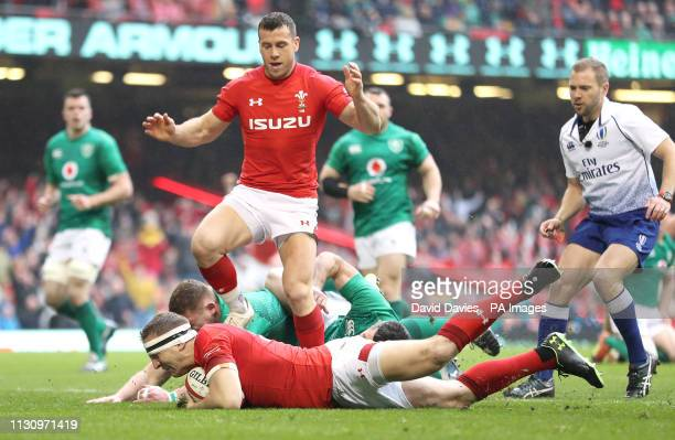 Wales' Hadleigh Parkes scores his side's first try of the game during the Guinness Six Nations match at the Principality Stadium Cardiff