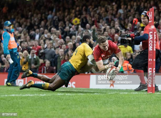 Wales' Hallam Amos scores his sides second try during the 2017 Under Armour Series match between Wales and Australia at Principality Stadium on...