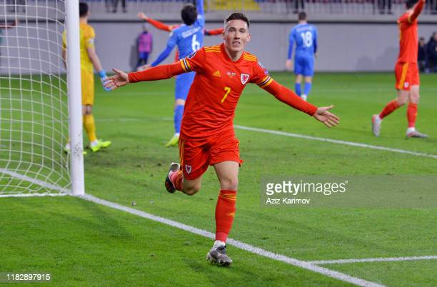 Wales' Harry Wilson celebrates after scoring his side's second goal during UEFA Euro 2020 Group E Qualifier match match between Azerbaijan and Wales...