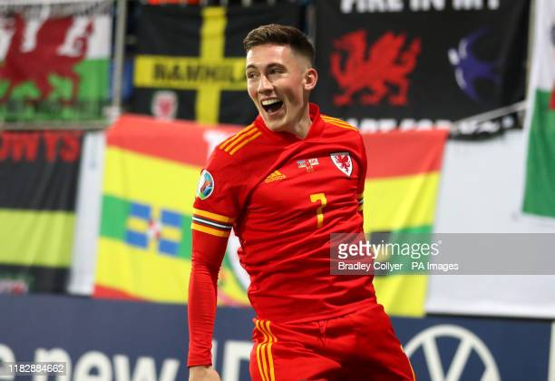 Wales' Harry Wilson celebrates scoring his sides second goal during the UEFA Euro 2020 Qualifying match at the Bakcell Arena, Baku.