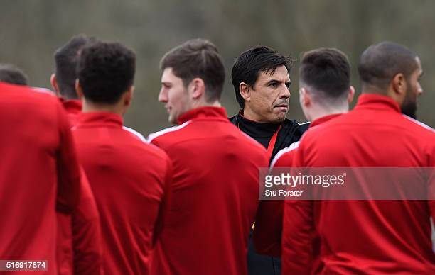 Wales head coach Chris Coleman looks on during Wales training at the Vale on March 22 2016 in Cardiff United Kingdom