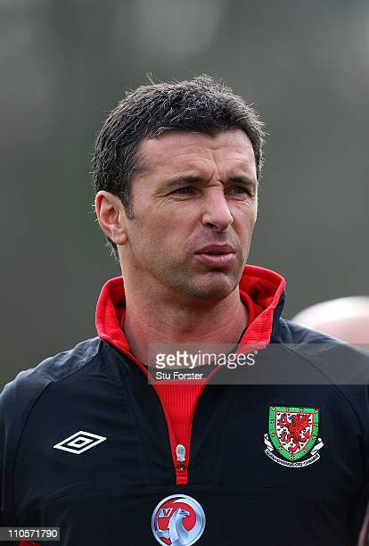 Wales head coach Gary Speed looks on during Wales training at the Vale ahead of their UEFA EURO 2012 qualifier against England on March 22 2011 in...