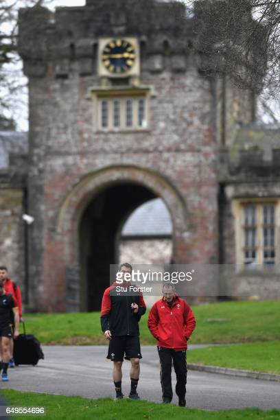 Wales head coach Robert Howley and player Sam Warburton make their way to training in the lead up to the RBS Six Nations match against Ireland at the...