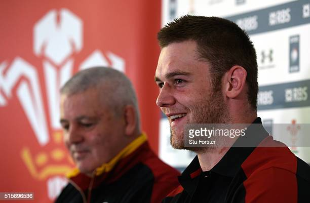 Wales head coach Warren Gatland and captain Dan Lydiate face the media during the press conference ahead of their RBS 6 Nations match against Italy...