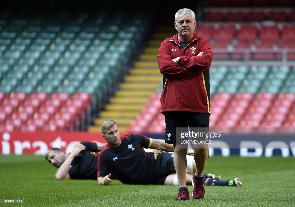 Wales head coach Warren Gatland attends the captain's run training session at the Millennium Stadium in Cardiff, south Wales, on September 30, 2015, on the eve of the Pool A match between Wales and Fiji at the Rugby World Cup 2015.