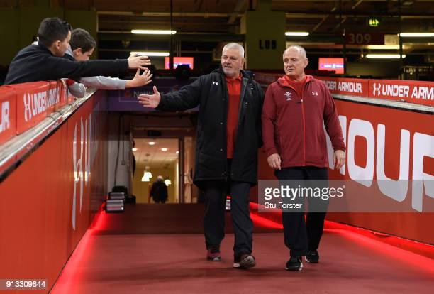 Wales head coach Warren Gatland emerges from the tunnel before the captain's run ahead of their opening Six Nations match against Scotland at...