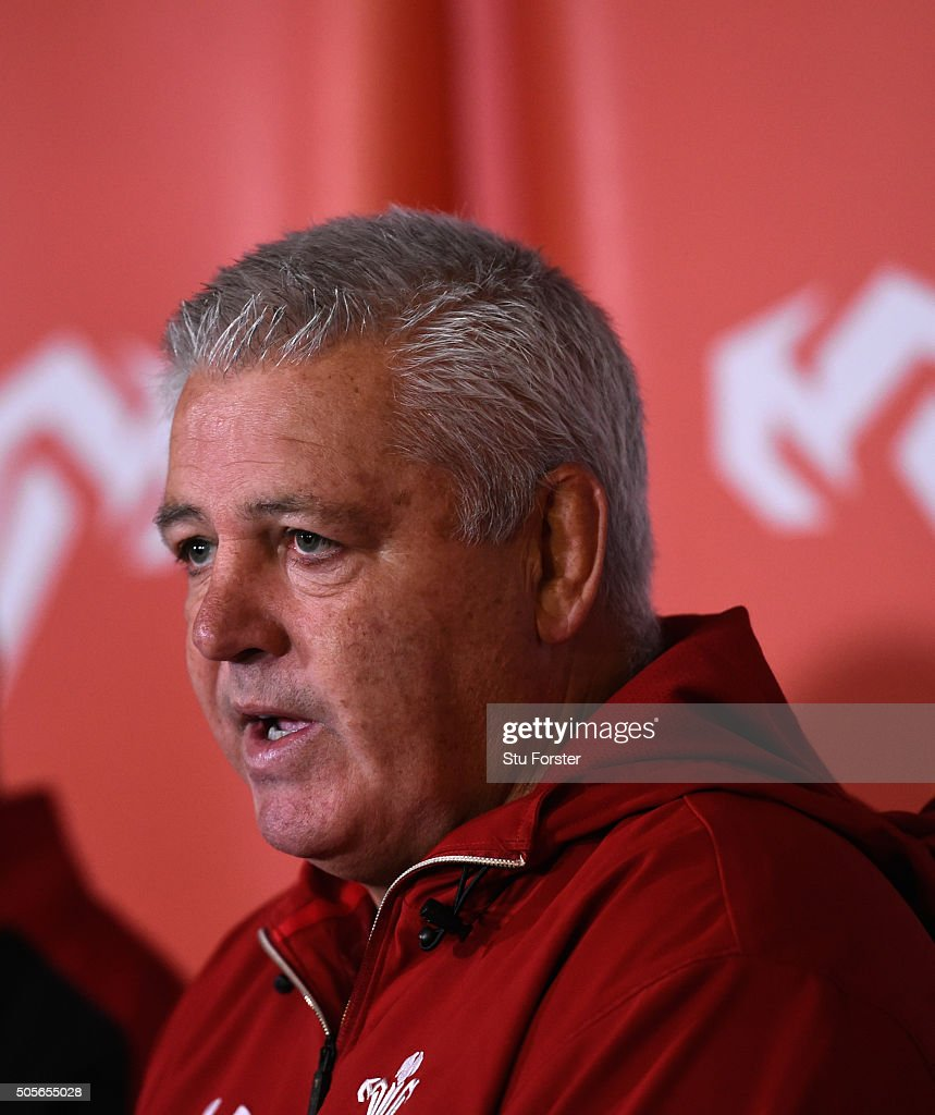 Wales head coach Warren Gatland faces the media at the 2016 RBS Six Nations squad announcement at the Vale hotel on January 19, 2016 in Cardiff, Wales.