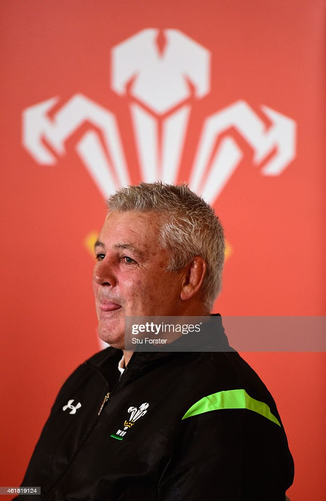 Wales head coach Warren Gatland faces the media at the Wales RBS Six Nations Squad Announcement at the Vale Hotel on January 20, 2015 in Cardiff, Wales.