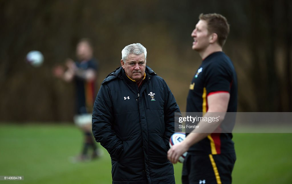 Wales head coach Warren Gatland looks on during training ahead of their RBS Six Nations match against England, at The Vale Hotel on March 8, 2016 in Cardiff, Wales.