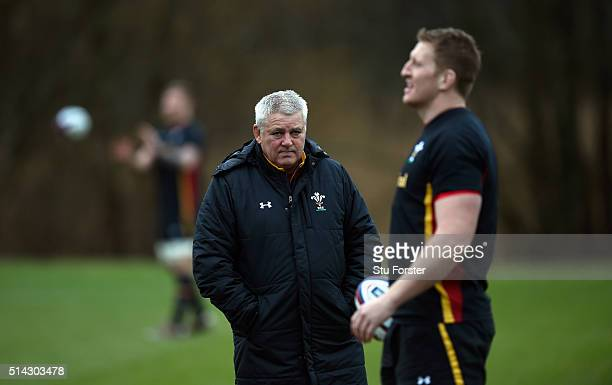 Wales head coach Warren Gatland looks on during training ahead of their RBS Six Nations match against England at The Vale Hotel on March 8 2016 in...
