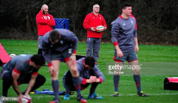 Wales head coach Warren Gatland looks on during Wales training ahead of their RBS six nations match against England on sunday at the Vale Hotel on...