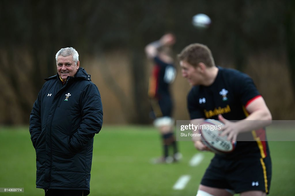 Wales head coach Warren Gatland raises a smile during training ahead of their RBS Six Nations match against England, at The Vale Hotel on March 8, 2016 in Cardiff, Wales.